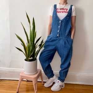 Vintage Pants & Jumpsuits - Vintage 90's denim overalls with pearl buttons, S